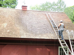 Soft pressure roof cleaning in Easton CT